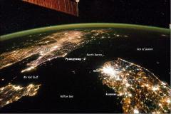 Le due Coree di notte. Quella buia è la Corea del Nord